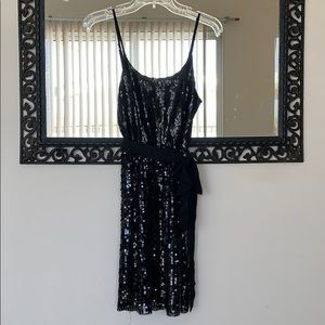 Black sequined flapper style dress
